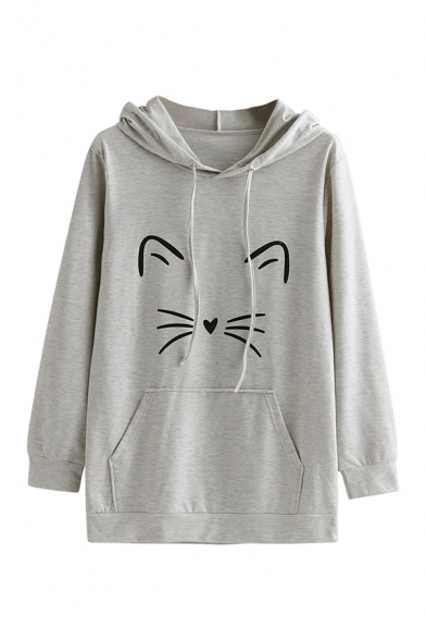 Girls Lovely Cat Pattern Long Sleeve Pouch Pocket Baggy Drawstring Hoodie, Black;gray, LC568665