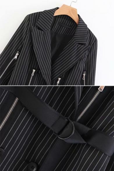 Ladies Stylish Black Pinstripe Peak Collar Double Breasted Zipper Decoration Belted Blazer Dress