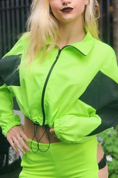 Unique Color Block Long Sleeve Zip Up Drawstring Hem Fluorescent Green Cropped Windbreaker Jacket