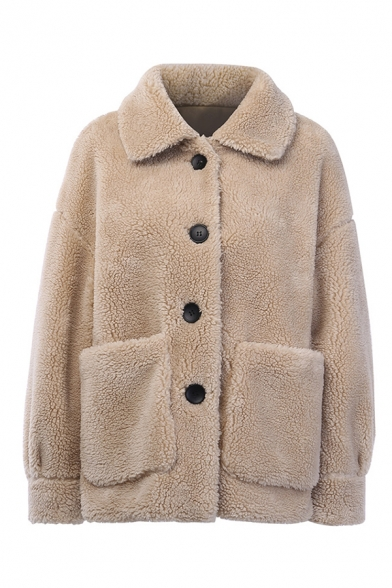 Women Warm Solid Color Long Sleeve Single Breasted Fluffy Faux Fur Boxy Coat with Big Pocket