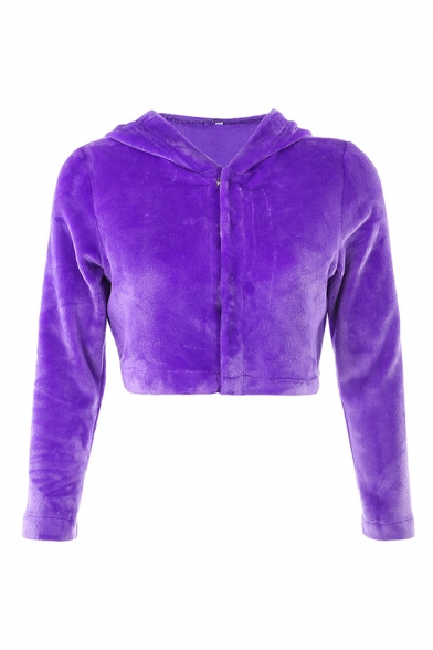 Womens Casual KISSGOD Embroidery Letter Back Long Sleeve Snap Button Purple Plush Cropped Jacket Coat