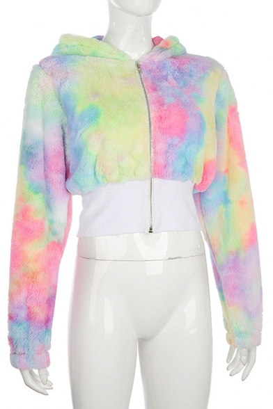 Womens Chic Colorful Mixed Color Printed Zip Placket Long Sleeve Cropped Faux Fur Hooded Jacket Hoodie