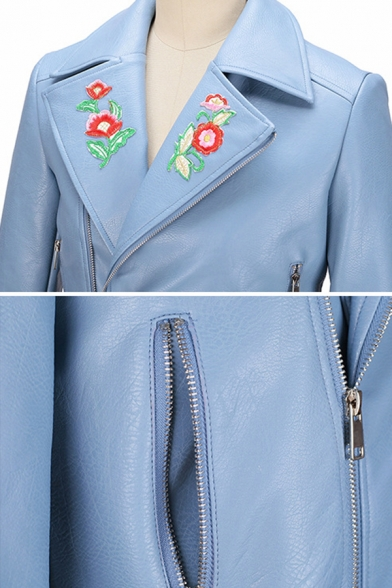 Womens Chic Floral Embroidery Printed Notched Lapel Long Sleeve Oblique Zip Short PU Motor Jacket