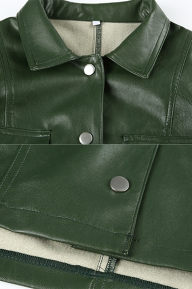 Womens Cool Lapel Collar Single-Breasted Dark Green Faux Leather Cropped Motor Jacket with Flap Pocket