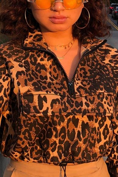 Womens Cool Leopard Printed Half Zip Long Sleeve Drawstring Hem Leisure Cropped Jacket
