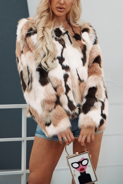 Womens Fashion Mixed Color Crew Neck Long Sleeve Open Front Faux Fur Warm Coat