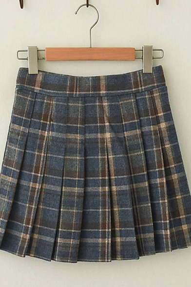 Womens Retro Plaid Pattern High Waist Daily Wear Mini Pleated Skirt LC569470 фото