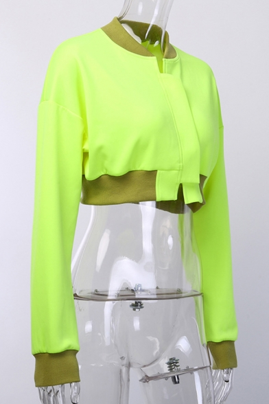 Womens Stylish Stand Collar Long Sleeve Velcro Placket Fluorescent Yellow Cropped Jacket Coat