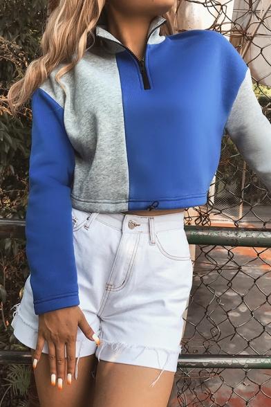 Fashionable Color Block Stand Collar Long Sleeve Half Zip Drawstring Hem Two-Tone Cropped Sweatshirt, LM567052