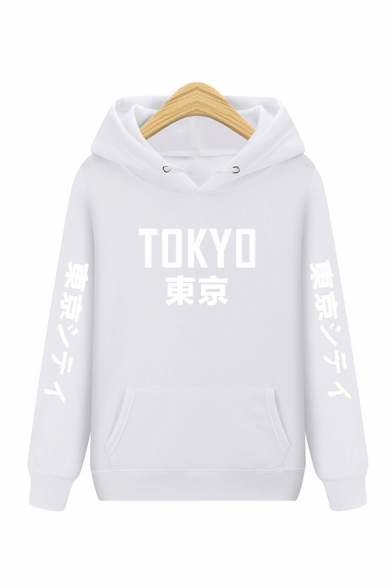 Japanese Capital Letter TOKYO Printed Pouch Pocket Long Sleeve Relaxed Casual Hoodie
