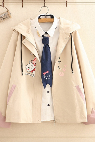 Japanese Letter Cats Printed Hidden Zip Closure Long Sleeve Apricot Loose Fit Casual Hooded Jacket Coat