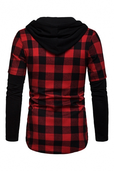 Mens Casual Fake Two Piece Plaid Shirt Single Breasted Long Sleeve Fitted Drawstring Hoodie