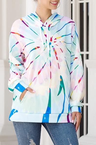Unique Colorful Vortex Printed Long Sleeve Regular Casual Hoodie