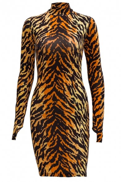 Unique Tiger Pattern High Neck Long Sleeves Mini Bodycon Dress in Brown