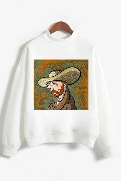 Unisexe Populaire Personnage De La Peinture À L'Huile Lettre Imprimée Col Décontracté Blanc Sweat-Shirt Loose