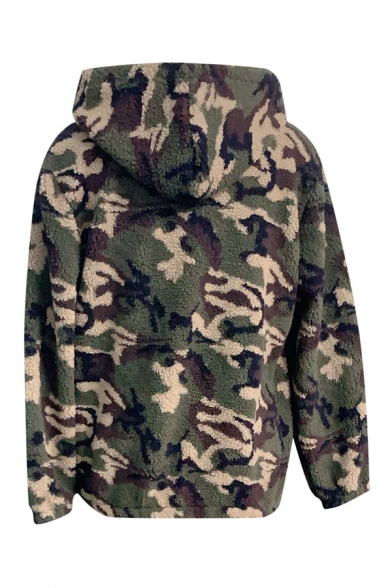 Winter Warm Camo Printed Long Sleeve Zip Up Oversized Lamb Wool Drawstring Hooded Coat Jacket