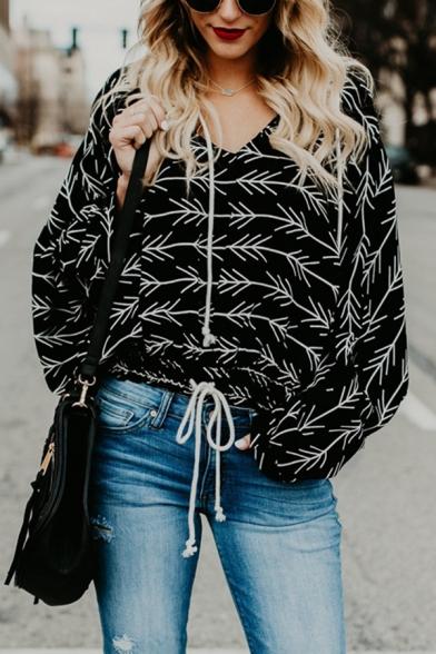 Womens Casual Allover Arrows Pattern Long Sleeve Drawstring Hem Black Oversized Hoodie
