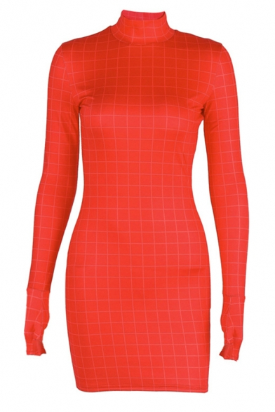 Womens Chic Plain Grid Print High Neck Gloves Long Sleeve Mini Bodycon Dress