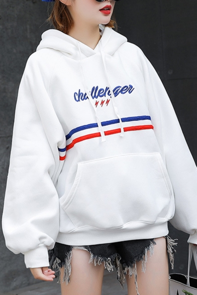 Womens Chic Stripe Letter Printed Long Sleeve Pouch Pocket Oversized Drawstring Hoodie, White;apricot;purple, LC567536