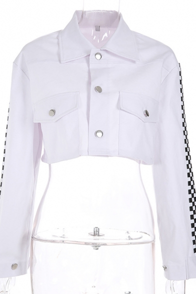 Womens Classic White Plaid Printed Long Sleeve Single Breasted Flap Pocket Cropped Jacket