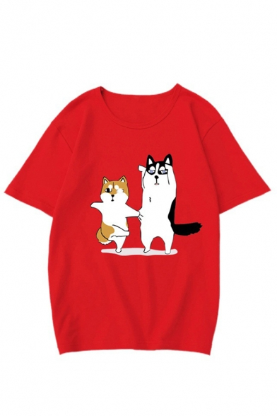 Womens Leisure Lovely Huskie Printed Short Sleeve Round Neck Loose T-Shirt