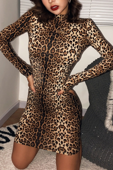 Womens Popular Leopard Tiger Printed Long Sleeve Mock Neck Mini Bodycon Dress