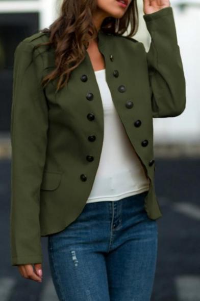 Womens Popular Plain Double Breasted Long Sleeve Open Front Uniform Blazer Coat