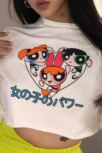 Anime Cartoon Girls Printed Long Sleeve Mock Neck White Cropped Pullover Sweatshirt Top
