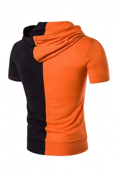 Cool Mens Color Block Short Sleeve Slim Fit Two Tone T-Shirt Casual Hoodie