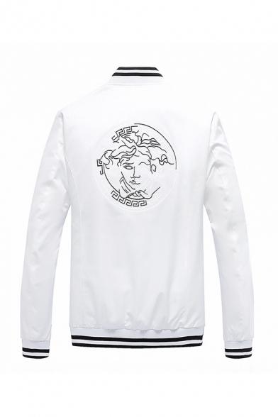 Fancy Cartoon Character Embroidery Back Long Sleeve Rib Cuff and Hem Zipper Pocket Classic Baseball Jacket
