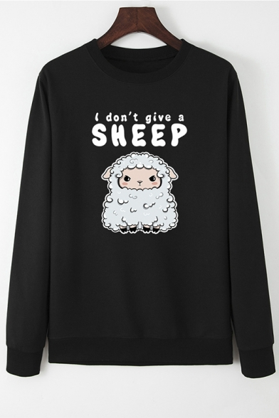 Letter I DON'T GIVE A SHEEP Printed Long Sleeve Pouch Pocket Graphic Pullover Sweatshirt