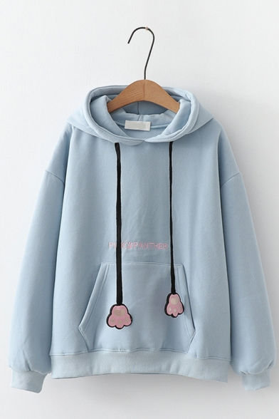 Letter PINK PANTHER Printed Long Sleeve Claw Embellished Drawstring Hood Pouch Pocket Casual Hoodie