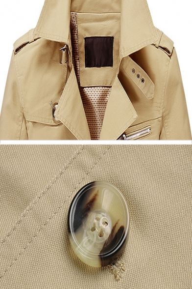 Mens Fall Popular Plain Single Breasted Notched Lapel Longline Waterproof Thin Trench Coat
