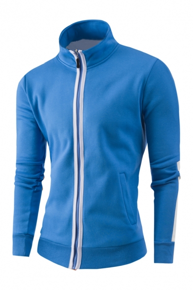 Mens Leisure Stand Up Collar Striped Long Sleeve Zip Up Fitted Pullover Sweatshirt