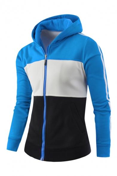 Mens Sportive Color Blocked Stripe Long Sleeve Zip Up Slim Fit Hoodie with Side Pocket