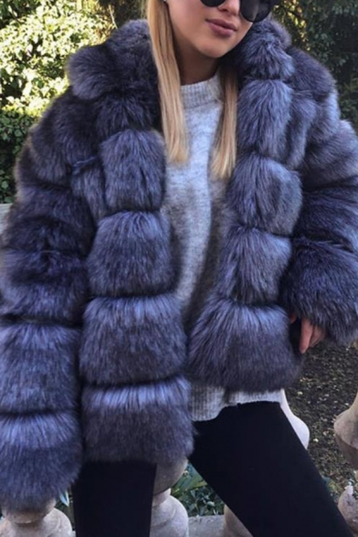 Solid Color Long Sleeve Faux Fur Rabbit Casual Hooded Coat Winter Overcoat
