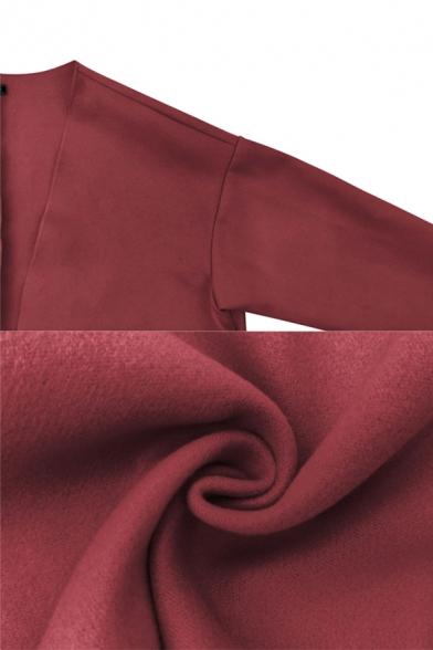 Women Simple Plain Long Sleeve Open Front Loose Woolen Overcoat Coat