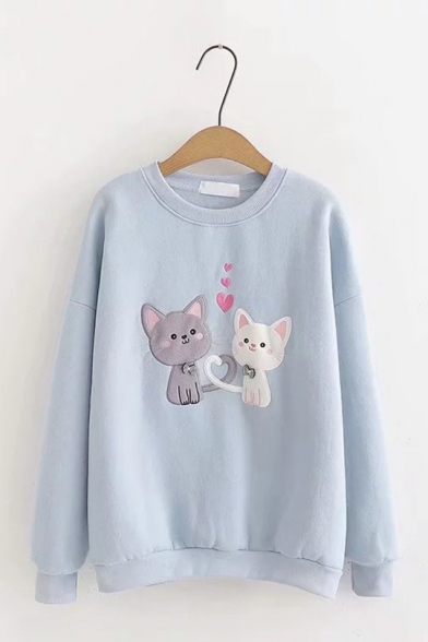 Womens Casual Lovely Heart Cats Printed Long Sleeve Loose Fit Pullover Sweatshirt
