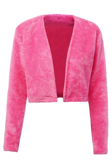 Womens Elegant Rose Red Long Sleeve Open Front Faux Fur Cropped Coat