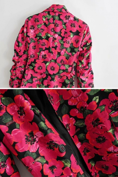 Womens Retro Allover Floral Pattern Long Sleeve Rose Red Longline Blazer Dress with Belt