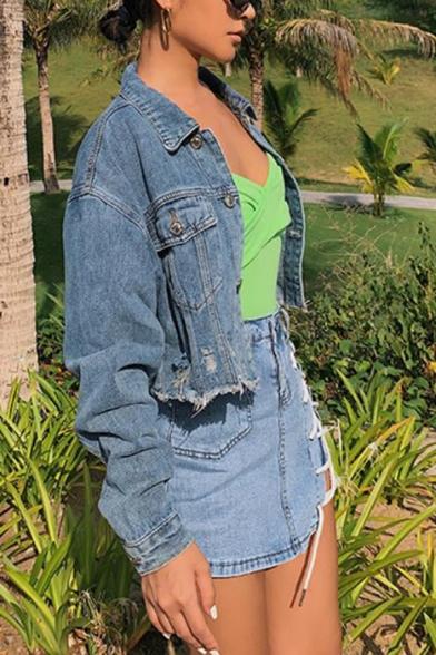 Womens Stylish Streetwear Lapel Collar Long Sleeve Ripped Destroyed Detail Cropped Blue Denim Jacket