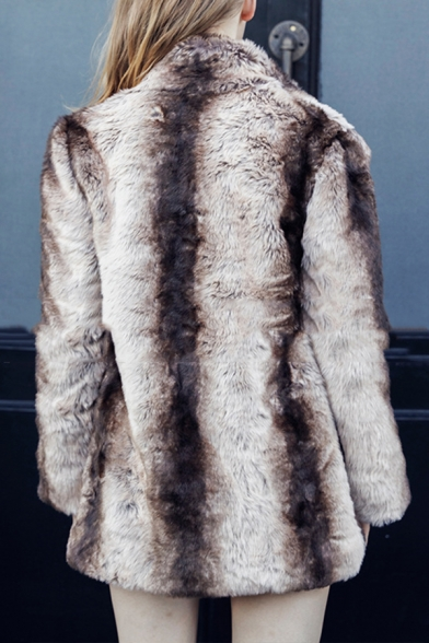 Korean Style Ladies Warm Brown Ombre Long Sleeve Stand Up Collar Open Front Faux Mink Fur Longline Thick Coat