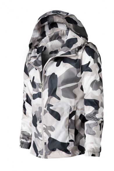 Mens Casual Camouflage Printed Long Sleeve Zip Up Hooded Sports Jacket Coat with Side Pocket