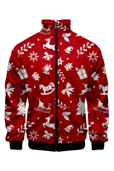 Mens Chic Christmas Pattern Print Stand Collar Long Sleeve Zip Front Casual Holiday Jacket