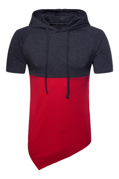 Mens Fashion Two-Tone Patchwork Short Sleeve Asymmetric Hem Drawstring Pullover Hoodie