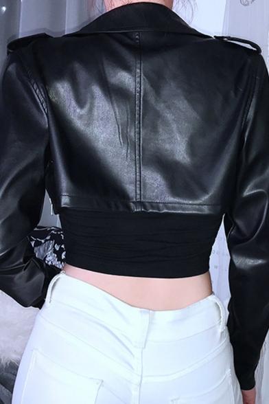 Plain Black Studded Lapel Collar Oblique Zipper Long Sleeve PU Cropped Biker Jacket
