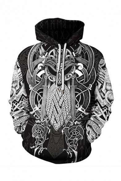 Unisex Retro Black and White Floral Animal Pattern Long Sleeve Cool Drawstring Hoodie