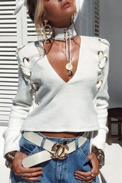 White Deep V-Neck Lace Up Paneled Long Sleeve Sexy Crop Sweatshirt Top