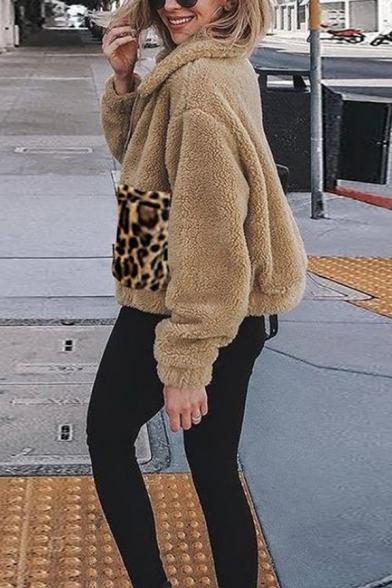 Winter Warm Leopard Patch Pocket Lapel Collar Metal Zipper Fluffy Teddy Coat for Ladies