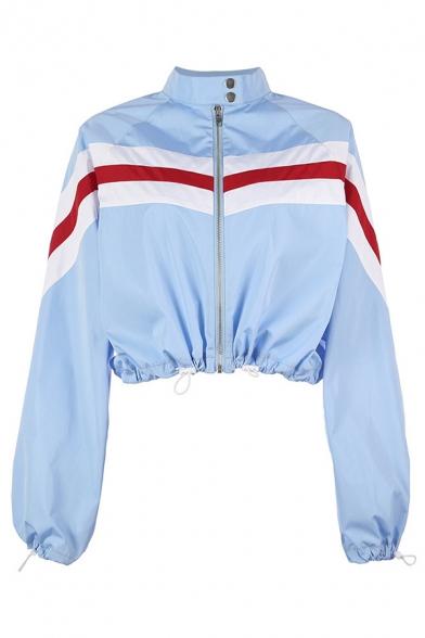 Women Classic Snap Collar Stripe Printed Long Sleeve Drawstring Hem Zip Up Blue Cropped Jacket